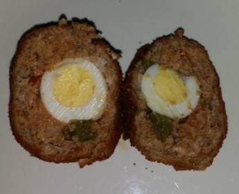 sliced scotch egg